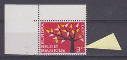 "Europa Cept 1962 Belgium 3F VARIETY Red Point In ""F"" (corner) ** Mnh (41637) - 1962"