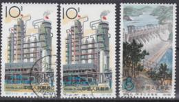 """CHINA 1964, 2 X 10 F """"Raffinerie"""" + 1 X 8 F """"Staudamm"""", Je Gestempelt, Originalgummi, Falzfrei - Neufs"""