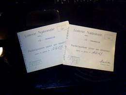 2 Billets De Loterie  Nationale 14 Tranches Participation Pour Un Dixieme Figeac Lot Annee 1929 - Billets De Loterie