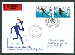 Slovenia 1994 FDC Winter Olympics Torch Skiing Letter Cover Michel 76 77 - Slovenia