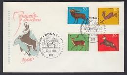 Bund FDC Mit 511-514 Jugend Hochwild Kompl. Satz Mit ESST Bonn 22.4.1966 - [7] République Fédérale