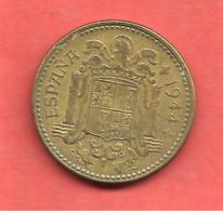 1 Peseta , ESPAGNE , Aluminium-Bronze , 1944 , N° KM # 767 , N° Y # 112 - [ 4] 1939-1947 : Gouv. Nationaliste
