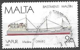 1987 2 Cents Ship, Medina, Used - Malta