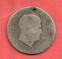 ITALIE , 2 Lires KINGDOM OF NAPOLEON 1807 V , ARGENT , WC# 9.3 - Temporary Coins