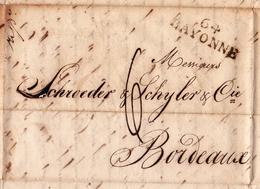 Lettre Bayonne BARDERVISCH 1825 SCHRÖDER & SCHŸLER Bordeaux Gironde Cacao Sucre De La Havane - Marcophilie (Lettres)