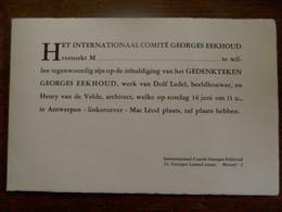 Kaart Van Het Internationaal  Comité  GEORGES  EEKHOUD    Antwerpen - Announcements
