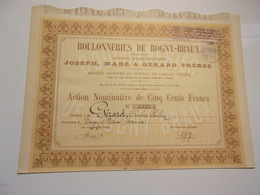 BOULONNERIES DE BOGNY BRAUX (ardennes) 1888 - Shareholdings