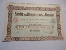 BRIQUETERIES DE BAMAKO (fondateur) PARIS - Acciones & Títulos