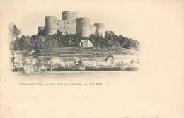 CPA 02 Aisne Chateau De Coucy Lot 4 Cartes Précurseur Couchant Levant Donjon Porte De Laon - France