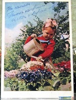 A Little Cute Girl Watering Flowers From A Watering Can USSR Postcard 1965 - Scenes & Landscapes
