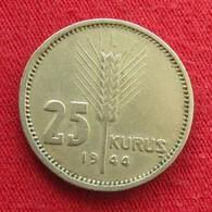 Turkey 25 Kurus 1944 KM# 880  Turquia Turquie Turchia Turkije - Turquie