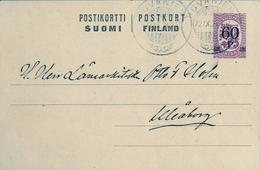 1921 , FINLANDIA , ENTERO POSTAL CIRCULADO, ROVANIEMI - WIBORG - Finlandia