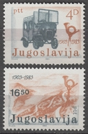 Car Bus VAN Oldtimer Automobile Serpentine Highway Mountain Horn 80th Anniv. POST Transport In Montenegro1983 Yugoslavia - Post