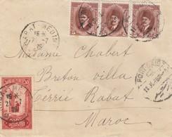 LETTRE. COVER. 1926. MIXT MAROCCO EGYPT. RABAT PORT-SAID.  BY BRITISH POST OFFICE TANGIER  AND CASABLANCA+ PORT-SAID/  2 - Briefmarken