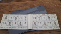 LOT 434716 TIMBRE DE FRANCE NEUF** LUXE FRANCHISE MILITAIRE CARNET VALEUR 160 EUROS - Franchise Militaire (timbres)