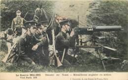 Militaria - Guerre 1914 - Region Du Nord - Mitrailleuse Anglaise En Action - Belle Carte Animée En Couleur - Guerre 1914-18