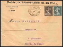 4236 Lettre Cover Entete Mairie Bouches Du Rhone N°159+193 Semeuse Pélissanne Pour Eyguières 1927 - 1921-1960: Période Moderne