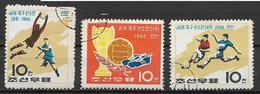 COREA DEL NORD 1966 COPPA DEL MONDO DI CALCIO YVERT. 691-693 USATA VF - Corea Del Nord