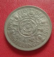 2 PIECES GRANDE BRETAGNE FLORIN - TWO SHILLINGS 1966  - 1955 ELIZABETH II (B3 - 39) - 1902-1971 : Monnaies Post-Victoriennes