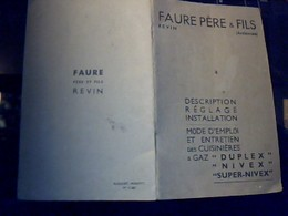 Publicité Livret Mode D Emploiet Entretien Cuisinieres A Gaz FAURE Pére&  Fils A Revin Ardennes Annees? - Publicités