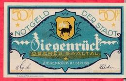 Allemagne 1 Notgeld De 50 Pfenning Stadt Ziegenrück UNC  N °2830 - [ 3] 1918-1933 : République De Weimar