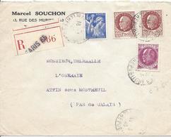 PARIS 65 REPUBLIQUE 18 3 1943 RECOMMANDE Tarif 4.50F Timbres Pétain 1.50F N°517 X 2 + N°505 + Iris N°432 - 1941-42 Pétain