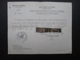 VP MILITARIA (M1902) Corps Des Transports 6e D. A. (2 Vues) Octroi Des Chevrons De Front Délivrée - 1921 - 1939-45