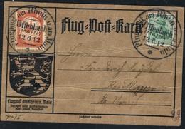 1912 10. Juni Erste Flugpost Am Rhein Und Main Flugpostkarte Mi I Und Germania Siehe Scan - Luftpost