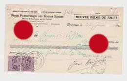 Union Patriotique Des Femmes Belges 1920 Oeuvre Belge Du Jouet  Bruxelles Rue Des Chartreux - Lettres De Change