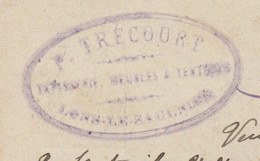 Carte Commerciale 1896 / Entier / TRECOURT / Tapissier / 39 Lons Le Saunier - Cartes