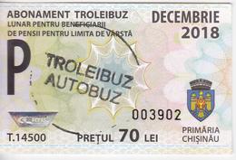 Moldova , Moldavie , Chisinau ,  Trolley  Bus  Ticket ,  Monthly Pass , December ,  2018 , Used - Titres De Transport
