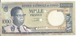 CONGO 1000 FRANCS 1964 VF BILLET PERFORE P 8 - Congo