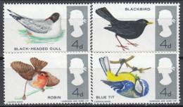 Great Britain 1962 (AVE114) (MNH) - Common Blackbird / Black-headed Gull / Eurasian Blue Tit / Eurasian Robin - Colecciones & Series