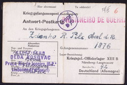 PORTUGAL To NURNBERG LANGWASSER POW LAGER OFLAG VIII B 1943 Kriegsgefangenepost REPLY CARD (see Sales Conditions) - Allemagne