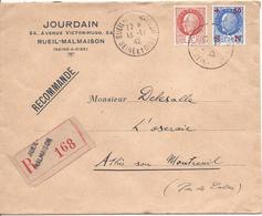 RUEIL MALMAISON 1942 RECOMMANDE Pour Attin Pas De Calais Pétain 3F N°521 + 1.50 Surcharge Secours National - 1941-42 Pétain