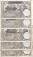SERBIE 100 DINARA 1941 VF P 23 ( 5 Billets ) - Serbie