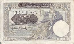 SERBIE 100 DINARA 1941 VF P 23 - Serbie