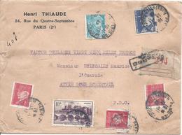 PARIS 49 13 11 1942 VALEUR DECLAREE 25000F Pétain 4F Vert + 1F Rouge X 3 + Mercure 50c +Angers 10F Tarif 17.50F Poids 40 - 1941-42 Pétain