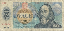 TCHECOSLOVAQUIE 20 KORUN 1988 VG+ P 95 - Tsjechoslowakije