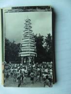 Indonesië Indonesia  Bali ? Photo Postcard People With Large Tower - Indonesië