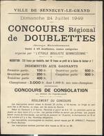 Affiche Sennecey Le Grand 24 Juillet 1949 Concours De Doublettes  - Format 21 X 27,5 Cm - Affiches