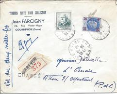 COURBEVOIE CHARGE VALEUR DECLAREE 2000F 28 9 42 Timbre Pétain 5F N°524 + N°552 1.50F Secours National Tarif 6.50F 28g - 1941-42 Pétain
