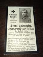 Sterbebild Wk1 Ww1 Bidprentje Avis Décès Deathcard RIR2 LA BASSEE BEAUCAMPS LIGNY Block 1 Grab 213 Aus Wailling - 1914-18