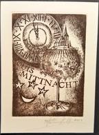 Ex-libris Louis MITTNACHT Par Frédéric KUHLMANN, Illustrateur Alsacien - Alsace - 2004 - Signé - TB (9 X 12,2 Cm)  /E11 - Ex-libris