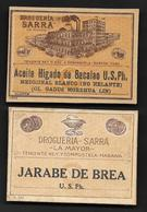B Cuba Lot Of 2 Medicine Labels From The Pharmacy Sarra The Most Important In The Country Before Fidel Castro, 1920s - Old Paper