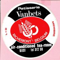 Sticker - Patisserie Vanbets - Air-conditioned Tea-room - Diest - Lid Richemont Belgium Membre - Pegatinas
