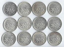 Monnaie France Lot De 12 Pièces De 50 Centimes 1916 - G. 50 Centesimi