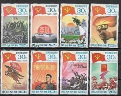 COREA DEL NORD 1975 FONDAZIONE DEL PARTITO COREANO YVERT. 1308-1315 USATA VF - Corea Del Nord
