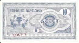 MACEDOINE 10 DENAR 1992 UNC P 1 - Macédoine