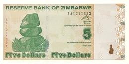 ZIMBABWE 5 DOLLARS 2009 UNC P 93 - Zimbabwe